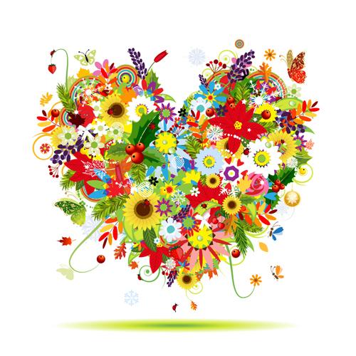 Vector Flowers Heart Design Elements 01