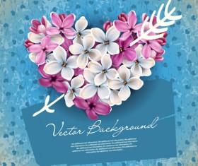 Vector Flowers heart design elements 05