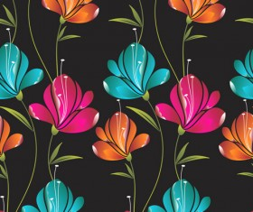 Colored Flower Seamless pattern vector 02