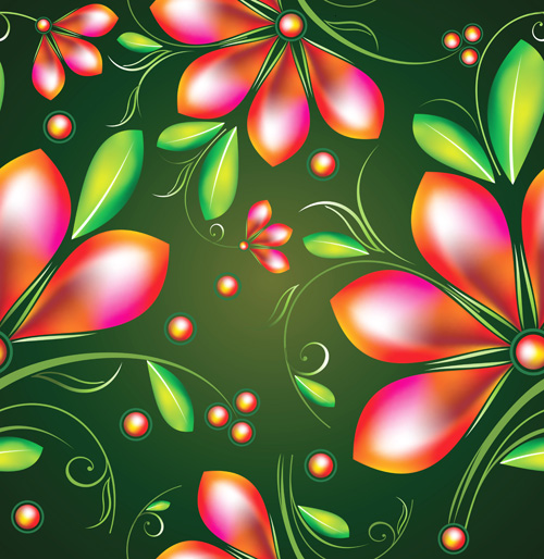 Colored Flower Seamless pattern vector 03