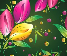 Colored Flower Seamless pattern vector 04