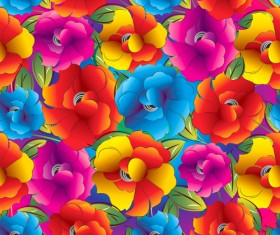 Colored Flower Seamless pattern vector 05