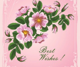 Flower wishes card vector
