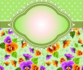 Flower with frame background vector 01