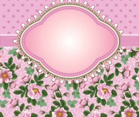 Flower with frame background vector 02