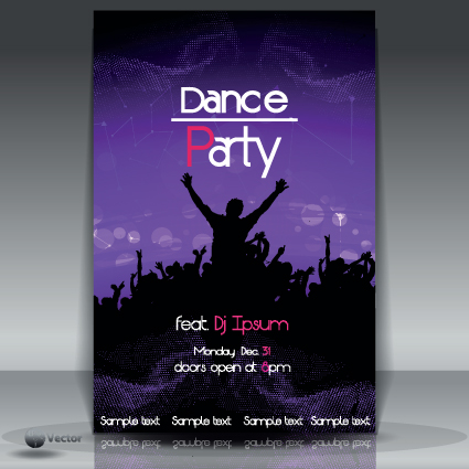 Dance Party Flyer Cover Template Vector   Vector Cover Free Download
