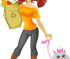 Vector set of Shopping girl design elements 04