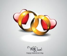 Golden wedding rings Valentine vector background 02
