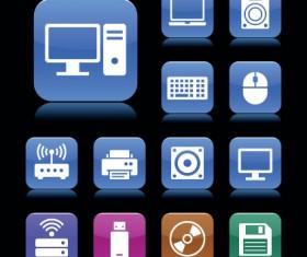 Set of aqua style icon vector 03