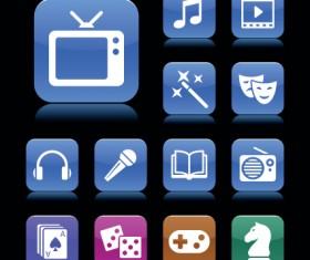 Set of aqua style icon vector 05