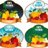 Natural fruit elements labels vector