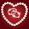 Pearl heart and wedding rings vector 01