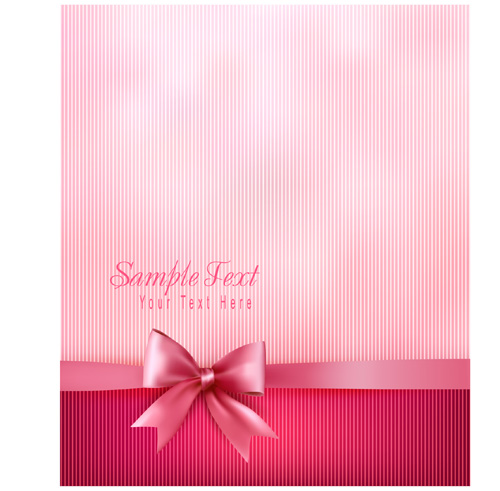 Pink background with bow vector 01