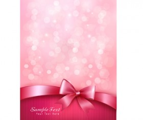 Pink background with bow vector 02