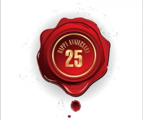 Red Wax seal cards vector 01