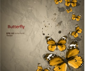 Retro Butterfly background vector 02