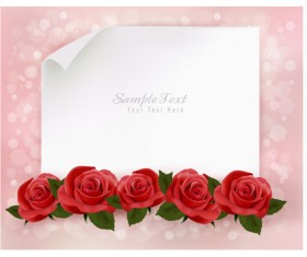 Roses with blank paper vector background 01