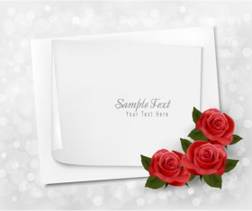 Roses with blank paper vector background 02