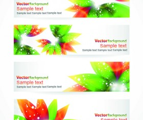 Colorful Spring Leaves Banners Vector 01