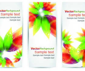 Colorful Spring Leaves Banners Vector 02