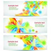 Link toColorful spring leaves banners vector 04