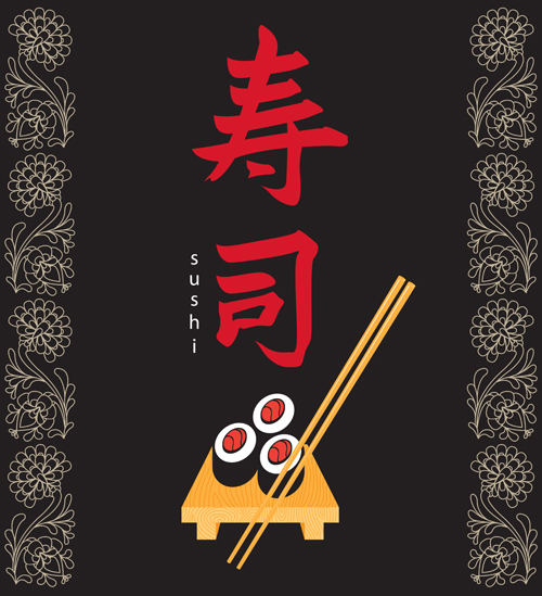 Sushi Menu cover design vector 02