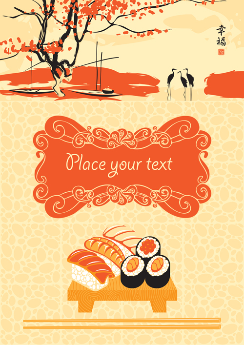 Sushi Menu cover design vector 04