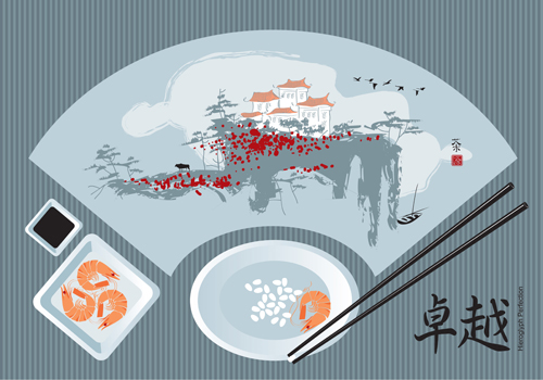 Sushi Menu cover design vector 05
