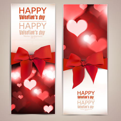 valentine day banners and bow vector 01 free download
