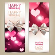 Link toValentine day banners and bow vector 04
