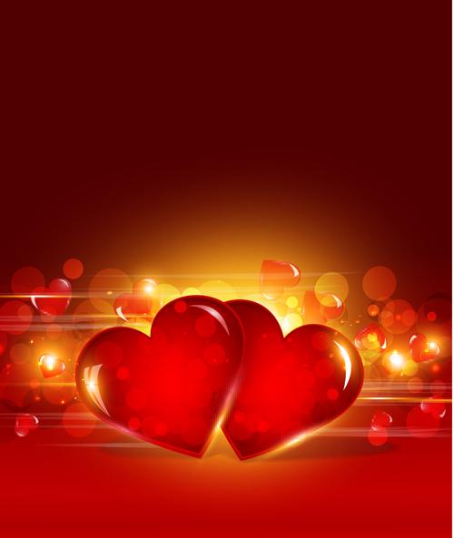 Vector heart Valentine background art 03