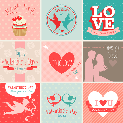 Valentine card vector set