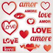 Link toValentine elements stickers vector