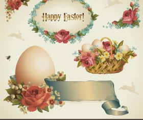 Vintage Easter decorate Illustration vector 01