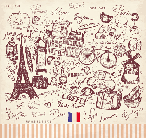 Vector Vintage Paris Style Post Card 03