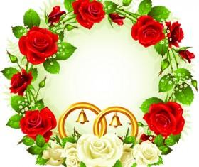 Flowers Wreath design vector 01