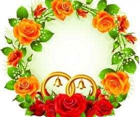 Flowers Wreath design vector 02