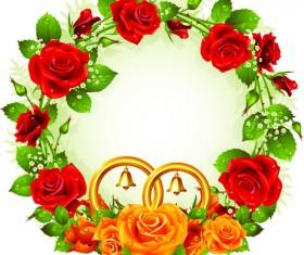 Flowers Wreath design vector 04