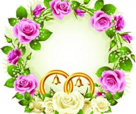 Flowers Wreath design vector 05
