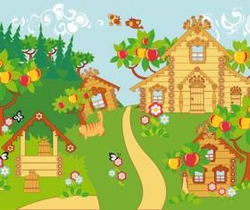 Cartoon fairytale town vector 01