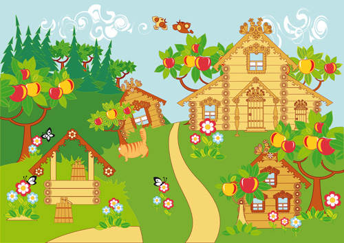 Cartoon fairytale town vector 01 over millions vectors for Fairy tale powerpoint template free download