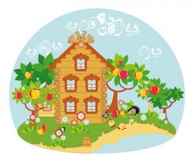 Cartoon fairytale town vector 02