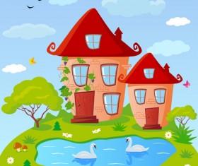 Cartoon fairytale town vector 03