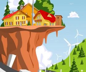 Cartoon fairytale town vector 04