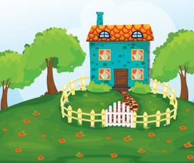 Cartoon fairytale town vector 05