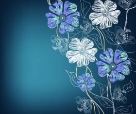 Flowers background design elements vector 01