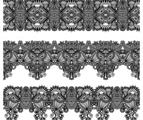 Set of Lace ribbons borders vector 01