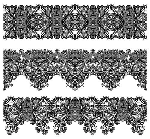 Set of Lace ribbons borders vector 01 - Vector Frames & Borders ...