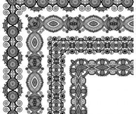Set of Lace ribbons borders vector 04