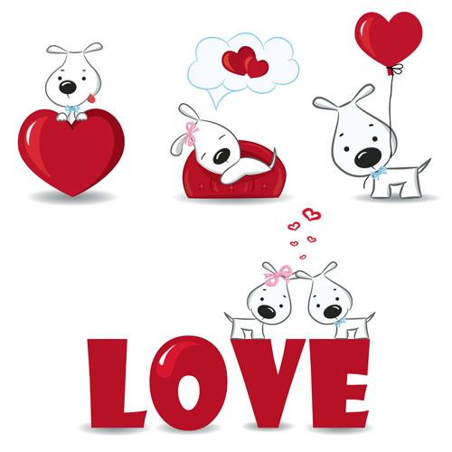 Valentine love backgrounds vector set 02